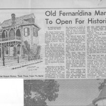 Image of Old Fernandina Mansions To Open for Historic Tour - Newspaper