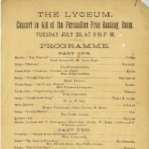 Image of Programme for Concert in Aid of the Fernandina Free Reading Room - Program