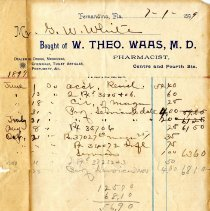 Image of Receipt for items purchased by G. W. White from W. Theo. Waas - Receipt