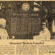 Image of Plaza San Carlos Historical Marker Unveiled - Clipping, Newspaper