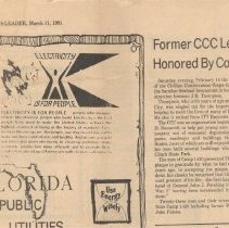 "Image of Newspaper Article ""Former CCC Leader Honored by Comrades"" - Newspaper"