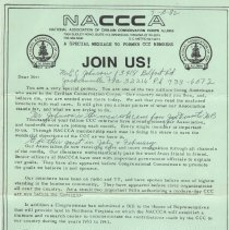 Image of NACCCA member recruiting mailer, w/ comments, top part