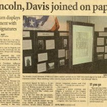 Image of Article about document signed by Abraham Lincoln and Jefferson Davis - Newspaper