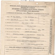 Image of Application for Automobile Registry in Louisiana - Application