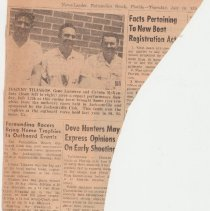 Image of Newspaper article showing Gene Lasserre with other members of Fernadina Beach Outboard Club. - Newspaper