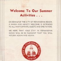 Image of Back cover, brochure for 1965 summer festivities, Fernandina Beach