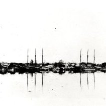 Image of Waterfront with schooners - Print, Photographic