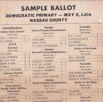 Image of Sample Ballot, Democratic Primary, May,5, 1964, Nassau County, Florida. - Newspaper