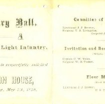 Image of Military Ball Invitation, Light Infantry, 1879