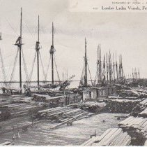 Image of Lumber Laden Vessels, Fernandina, Fla. - Postcard, Picture