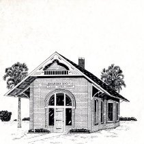 Image of The Depot of Florida's First Cross-State Railroad in Fernandina Beach, Florida - Drawing