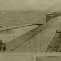 Image of Fort Clinch wall and shrimp boats