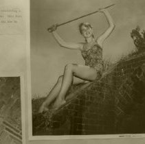 Image of Model Diana Morgan holding cavalry sword