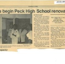 Image of Workers begin Peck High School renovation - Newspaper