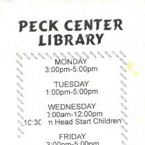 Image of Peck Center Library Hours - Poster