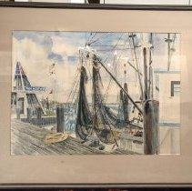 Image of Watercolor Shrimp Boat and Welcome Center - Painting