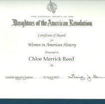 Image of DAR Certificate for Chloe Reed
