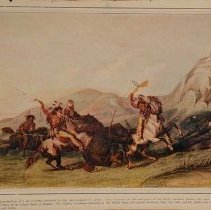 Image of Bear Hunting.  Color halftone illustration of a c. 1845 Catlin lithograph.  Depicts four Native American men on horseback attacking two bears.  The men are wearing elaborate leather and feathered outfits and are extensively painted. Maker's Mark: Catlin (original) Mutual Life Insurance Company, NY (copy) - Viewbook