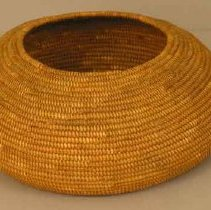 Image of Basket - Juncus rush coiled basket in bowl shape with inward sloping sides. Undecorated.