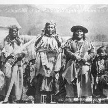Image of Arlee, Sons and Grandsons.  Black and white photographic print.  Depicts six Native American males of varying ages. Maker's Mark: W. E. Hook Quantity: 1 Black and white photograph - Photograph