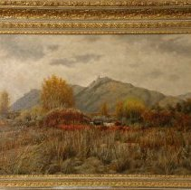 Image of Painting - Painting, oil on canvas, landscape, framed; subject: field with cows grazing, probably the Broadmoor area, autumn scene, leaves orange and gold; frame, carved wood, gilt paint; signed and dated by the artist