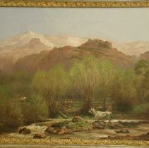 Image of Painting - Painting, oil on canvas, landscape, framed; subject: pasture with cows grazing in middleground, back of Pikes Peak in background, white cow in stream and rail fence, foreground; frame, carved wood, heavy, ornate, gold leaf, gesso; signed, lower left.
