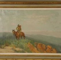 Image of Painting - Painting, oil on canvas; title, 'Indian in leather Suit Astride Horse'; signed, bottom right; subject, landscape, Indian on brown horse with striped saddle blanket at left, blue hills and sky in background, reddish rocks on right; frame, inner, cloth with small gold frame; frame, outer, heavy, gold painted.; 1866 - 1931 A.D.