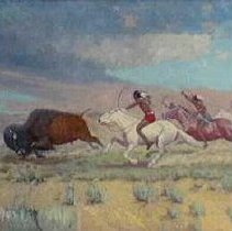 Image of Painting - Painting, oil on canvas, framed; entitled, `Buffalo Hunt', by Charles Craig; landscape of plains with 3 indians on horseback pursuing a buffalo.