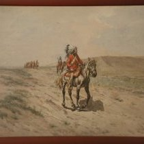 Image of Painting - Painting, watercolor on watercolor paper mounted on thin pulp board, titled, 'Trailing In'; subject, main, native american male riding a horse, several other riders in background, plains landscape, some grass; predominate colors, red, black, cream, yellow, grey, blue, brown and green; landscape and sky, colors, muted; signature 'Chas. Craig', lower right corner; frame, painted, brownish-red, no mat; arrow, attached to bottom portion of frame, with stone arrowhead and three feathers.