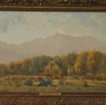 """Image of Painting - Painting, oil, rectangular; subject, autumn at Craig's house in Ivywild with Rocky Mountains in background; frame , brown, plaque, engraved; back, 2 fixtures metal between which is a strand of wires. Plaque has on it """"autumn in Ivywild Charles Craig Study C 1900"""""""