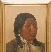 Image of Painting - Painting, oil; subject, chief Pe-Ah, wearing bone jewelry and black coat, has earring, white; frame, gold colored, embossed, design, leaves; colors, light brown, red, black, brown, white, blue; signed, lower right corner