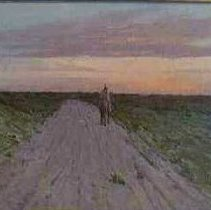 """Image of Painting - Painting, oil, """"Lonely Ride on the Settlers Road"""", image of a Native American on horse back at sunset; background, sky, blue, orange, yellow; mid-ground, road leading to center foreground, either side green, brown, red foliage with figure center right with back to the viewer; back, frame-back, center, canvas held in by wood and latches, wire hanger"""
