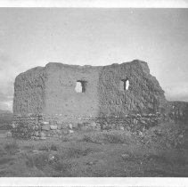 Image of Adobe ruins.  Ruins of an unknown adobe building with a stone foundation.  Black and white photograph. Maker's Mark: Unknown - Photographs