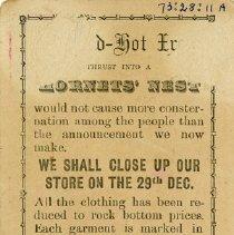 Image of Notice of Shop Closing, 'Elephant' Clothing Store