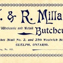 Image of Business Card, J. & R. Millar, Guelph Butchers