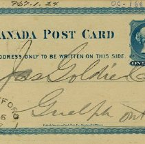Image of Penny Postcard to James Goldie, January 6, 1877