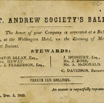 Image of Invitation to St. Andrew's Society Ball, 1849