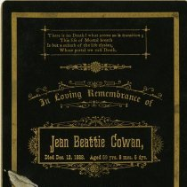 Image of In Remembrance Card for Jean Beattie Cowan, 1888