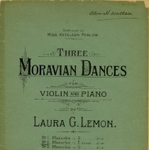 "Image of .1 - Cover, ""Three Moravian Dances"" by Laura Lemon"