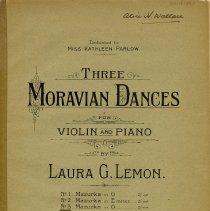 "Image of .1 - Cover for ""Three Moravian Dances"" by Laura Lemon"