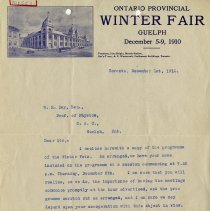 Image of Letter to W.H.Day from Ontario Winter Fair, 1910