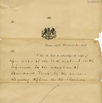 Image of .1 - Letter to N. Higinbotham, Registrar, Guelph, Dec. 19, 1883
