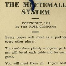 "Image of .1 - Back, ""The Meetemall System,"" 1928 By The Rose Company"