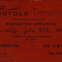 Image of Grand Bicycle Demonstration Admission Ticket, 1893