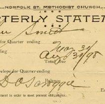 Image of Quarterly Statement from Norfolk St. Methodist Church, 1898