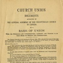 Image of Church Union Documents, Presbyterian Church of Canada