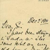 Image of Letter from Laura Lemon, Dec.2, 1911