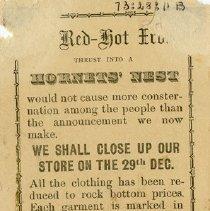 Image of Notice of Shop Closing, Elephant Clothing Store