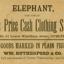 Image of Advertising Card, Elephant Clothing Store