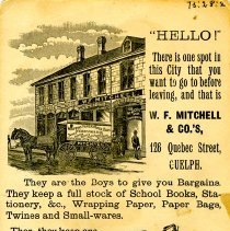 Image of Advertising Card, W. F. Mitchell & Co.